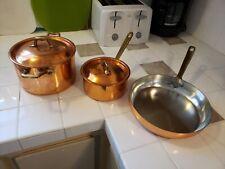 Fantuzzi. 3 pcs Pan, Sauce pan, and Pot. Made in Chile *light dent on pan