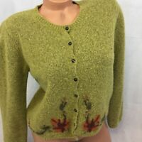 Vintage Marisa Christina Cardigan Sweater Button Front Wool Embroidered Small