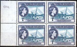 Virgin Islands 1962 1c Turq & Slate-Violet SG150a V.F MNH Block of 4