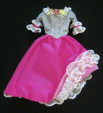 Vintage BARBIE DOLL Clothes Pink Dress w/ White Lace Ruffles and Flowers