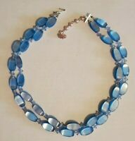 """20""""--VINTAGE 70'S BLUE & AURORA BOREALIS CRYSTAL BEAD NECKLACE --Made in JAPAN"""