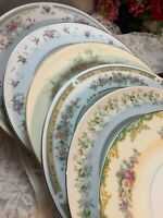 6 - Vintage Mismatched China Dinner Plates Pink Green Boho Wedding Shabby #37t
