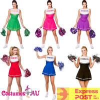 Ladies Cheerleader Costume School Girl Outfits Fancy Dress Cheer Leader Uniform