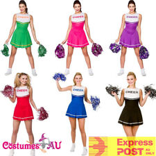 aa8fee0b0b92 Ladies Cheerleader Costume School Girl Outfits Fancy Dress Cheer Leader  Uniform