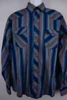 WRANGLER RUSTLER VTG Western Cowboy Rodeo PEARL SNAP Shirt Blue Striped Mens M?