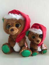 """Lot x 2 Nicholas Ty Beanie Boos 6"""" & 9"""" Set Christmas Bear Walgreens Exclusive"""