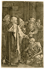 A Copper Engraving By Albrect Durer St. Peter and St. John Healing The Cripple