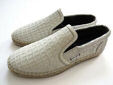JIMMY CHOO White Crocodile Nubuck Espadrilles Shoes Size 13 US 46 Euro 12 UK