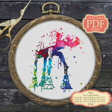 At-At Watercolor - Cross stitch PDF Pattern  Embroidery Hoop Art #063
