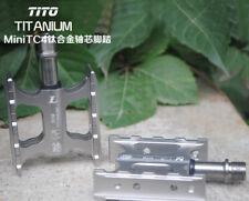 1 Pair Titanium Axle Ultra-light Pedals Road MTB Bike Platform Mini Pedal