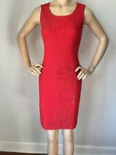 NWT St John Knit Evening dress size 16 red sea coral shimmer wool rayon