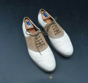 ECCO Men's Sz: 46 Brown/White Oxford Style Spiked GOLF SHOES Made in Denmark