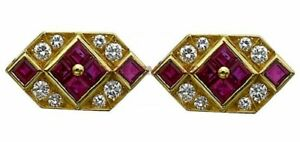Natural Ruby Gemstone with Gold Plated 925 Sterling Silver Cufflinks #5121