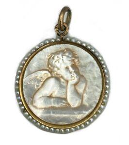 Medaglione IN Madreperla e Perle - Angelo Raphael - 2,16 G - Ciondolo Da