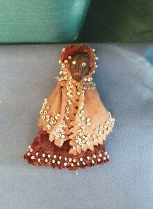 Antique Folk Art Wish Bone Doll Miniature Seed Pod Head Beaded