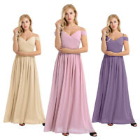 Women V Neck Long Wedding Formal Evening Party Gown Ball Prom Bridesmaid Dress