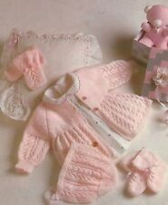 "Baby Jacket, Mittens, Bonnet and Bootees Knitting Pattern 16-20"" 4ply 844"