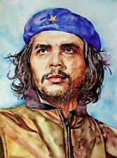 "11.69 × 15.75"" Ernesto Che Guevara ~Сomandante~ watercolor SIGNED and DATED"