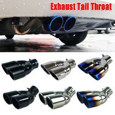 """2.5"""" Universal Stainless Steel Car Double Outlet Double Pipe Exhaust Tail Throat"""
