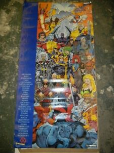 X-MEN MARVEL COMICS 5 X 2.5 FOOT ROLLED PROMO POSTER 1992 ROSTER JIM LEE CYCLOPS