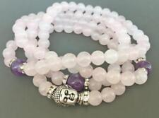 Natural  Rose Quartz white Tassels 108 Beads Necklace yoga Mala meditation