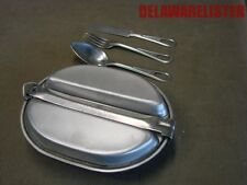 *US Military 1982 Army Complete Camping Mess Kit Dish +Utensils Fork/Knife/Spoon