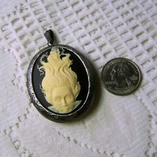 MERMAID & PIRATE SHIP Cameo Antique Silver LARGE Locket Necklace LADY of the SEA