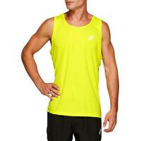 Asics Mens Silver Running Singlet - Yellow Sports Breathable Lightweight