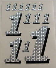 Racing Numbers Number 1 Decal Sticker Pack Silver Black 1/8 1/10 RC models S04