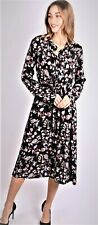 Ladies Floral Print Long Dress Long Sleeves Fits Sizes 10/12-12/14-14/16-18 NEW