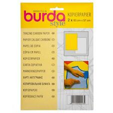 Burda Tracing Carbon Paper 2 Sheets Yellow White Sewing Dressmaking 81cm x 55cm