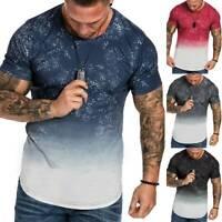 Herren Gradient T-Shirt Kurzarm Shirt Longtop Slim Fit Sommer Freizeit Bluse Top
