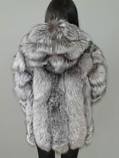 70 cm Real White Fox Fur Vertical Stripes Hoodie Coat Outwear Long Winter Trench