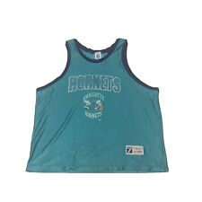 Vintage Charlotte Hornets Jersey XL Logo 7 Blue Sleeveless 90's Distressed