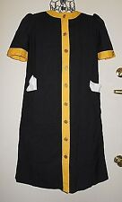 Womens Vintage Puccini Black Yellow Gold Buttons Career Dress Sz M Work Church