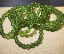 8mm Green GEM MOLDAVITE Meteorite Impact Glass Bead Bracelet
