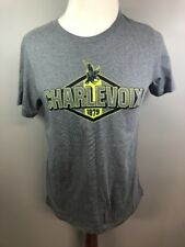 Charlevoix Michigan Gray Neon Short Sleeve Graphic Souvenir T Shirt Large L