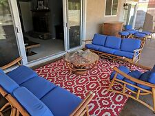 Antique Mid-Century Modern Bamboo Rattan Furniture - Refinished/Reupholstered
