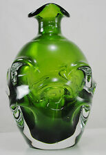 Swedish Handmade Green and Clear Art Glass Decanter