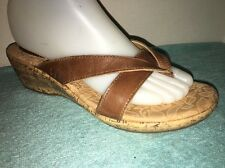 B. O. C Born Concept Light Brown Leather Wedge Heel Sandals Size US 8
