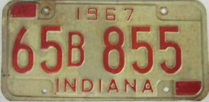 INDIANA 1967 licence/number plate US/United States/USA/American 65 B 855