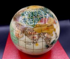 "Vintage 3"" Paperweight~World/Earth/Globe~Inlaid Semi-Precious Stones"