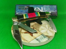 """Turquoise Stockman Pocket Knife Multi-Color Stone Handles 3-3/4""""  3- 440A Blades"""