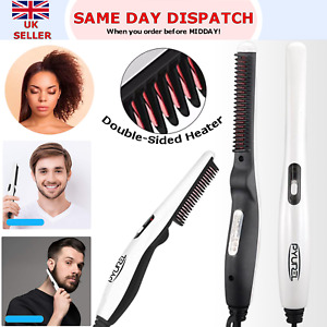 Electric Beard Hair Straightener Quick Heated Brush Straightening Comb Styler UK