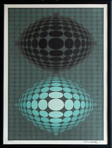 Victor Vasarely SIGNED NUMBERED OP ART Modern Serigraph Screen Print Abstract