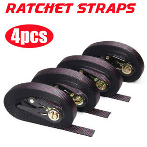 4 x Ratchet Straps 6m x 25mm Tie Down Cargo Rack Load Lashing Handy Strap 600kg