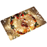 Christmas Waterproof Door Mat Area Rug NonSlip Kitchen Bath Floor Mat Carpet VM
