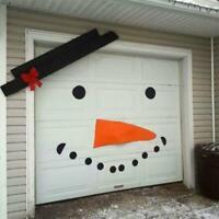 Christmas Garage Door Covers DIY Snowman Old Man Elk Bow Hat Outdoor Decor