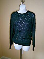 Krizia Maglia Italy Black/Glitter Square Ornate Decor Knit Vintage Sweater Sz 38