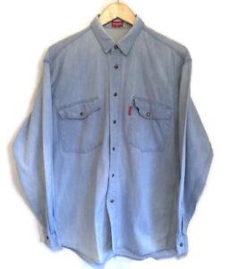 Vintage Carrera Denim Shirt Italian Popper Snap Shirt M Pale Blue